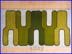 70's wool Rug carpet green white Vintage Mid-Century Design Retro Panton Era Rya