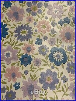 8 ROLLS Vintage 1970s LEYLAND WALLPAPER Retro Floral Mid Century