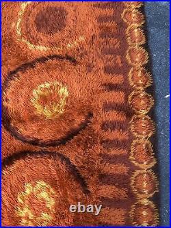 8 X 11 Knoll Era Mid Century RYA Shag Rug Danish 60s Orange Brown Authentic