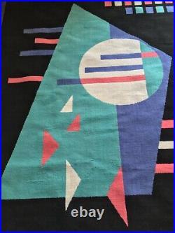 80s 1980s Vintage Rug 6.4 x 4.6 Feet- Prop Carpet Eighties Geometric Shapes