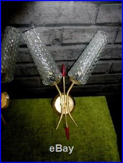 A PAIR OF VINTAGE FRENCH RETRO MID CENTURY 1960's DOUBLE WALL LIGHTS