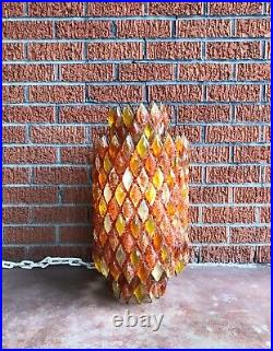 AMAZING & Big Vintage Mid Century Modern Chunky Lucite Diamond Swag Lamp Pendant