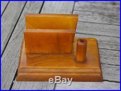 AMBER BAKELITE CATALIN Inkwell Marble Art deco 778 grams