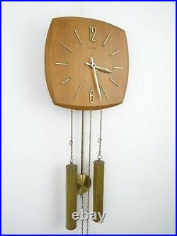 AMS German Vintage Design Mid Century TEAK 8 day Retro Wall Clock (Junghans era)