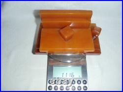 ANTIQUE ART DECO CATALIN / BAKELITE INKWELL DESK SET 1116 grams. Amber