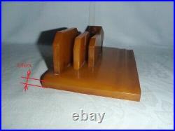 ANTIQUE ART DECO CATALIN / BAKELITE INKWELL DESK SET 720 grams. MARBLE yellow