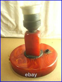 ANTIQUE ART DECO CATALIN CHERRY RED MARBLED BAKELITE DESK LAMP'1930 tested