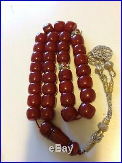 ANTIQUE FATURAN CHERRY AMBER BAKELITE PRAYER BEAD (86g without silver)