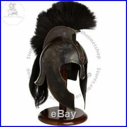 Achilles Troy Medieval Armor Helmet Halloween Costume With Black Plume