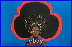 Afro Queen Vintage 1971 Blacklight Poster 28 X 42