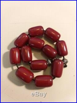 Antique Faturan Veined Cherry Amber Prayer Beads Big Barrel 71,3 g Rare Egyptian