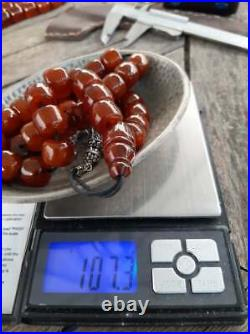 Antique German Faturan Rosary Islamic Prayer 33 Beads Misbaha Red 107.3gr 1960's