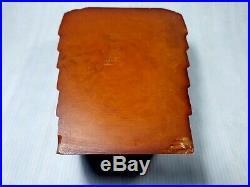 Antique Old Carvacraft Amber Bakelite Catalin Desk Set Veined Block 135 gr