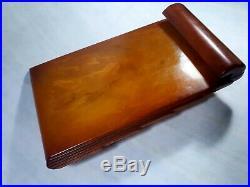 Antique Old Carvacraft Amber Bakelite Catalin Desk Set Veined Block 419 gr