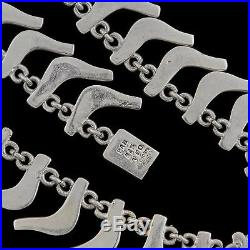 Antique Vintage Mid Century Retro Sterling Silver Mexican Taxco Collar Necklace