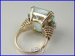Aquamarine Diamond Ring 18K Yellow Retro Mid Century 20.12ctw Estate Vintage