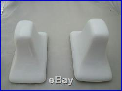 Arctic White Porcelain Towel Bar Rod Holders Ceramic Vintage Mid Century Modern