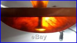 Art Deco Amber Bakelite Catalin Desk inkwell Set Marble 902 grams