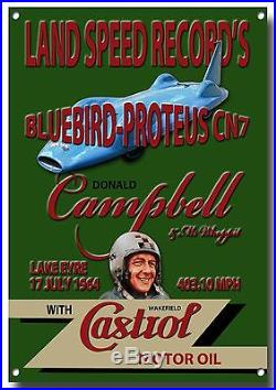 BLUEBIRD-PROTEUS CN7 LAND SPEED RECORD'S ENAMELLED METAL SIGN. DONALD CAMPBELL