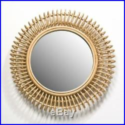 Bamboo rattan Wicker Round Retro Mid century Style Boho Mirror New