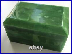 Beautiful Green Color Marble Bakelite Vintage Germany Art Deco Era Jewelry Box
