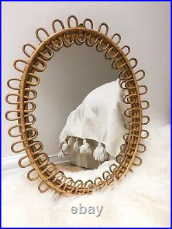 Beautiful Rare Oval Italian Cane Bamboo Mirror Franco Albini 1950 Retro MCM