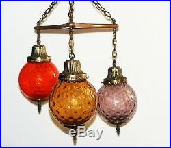 Beautiful Vintage Mid Century Modern Retro Style Multicolor Hanging Glass Light