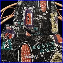 Big Vintage Curtain Fabric 40s 50s Mid Century Modern Atomic Tiki Retro