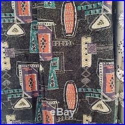 Big Vintage Curtain Fabric 40s 50s Mid Century Modern Atomic Tiki Retro Pair