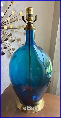 Blenko Vintage Mid Century Modern Blue Art Glass table Lamp mcm retro