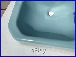 Blue Bathroom Porcelain Sink Vintage Classic Color 074 Mid Century Modern Iron