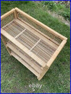 Boho Mid Century Wicker Bamboo Cane Tiki Retro Folding Shelves Shelving Vintage