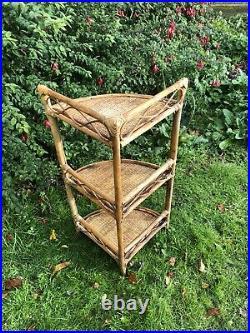 Boho Mid Century Wicker Bamboo Cane Tiki Retro Scandi Vintage Corner Shelf #L