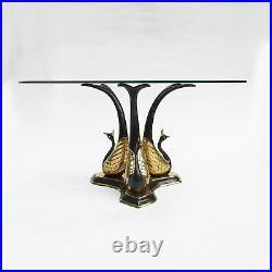 Brass Peacock Coffee Side Table Hollywood Regency Midcentury Modern Vintage bird
