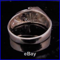 C. 1940s Retro Diamond 14k Rose Gold Ring Estate Jewelry Vintage Mid Century Gift