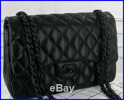 d7c44553f44e Chanel So Black Jumbo Authentic classic double flap quilted bag handbag