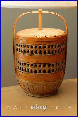 Chic! MID Century Basket Table Lamp! Wicker Rattan Atomic Vtg 70's Light Retro