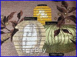Chinese Lanterns Mid Century Vintage Barkcloth Fabric Pillow Cushion Sz Retro