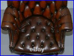 Circa 1920 Art Deco Chesterfield Barrel Brown Leather Directors Captains Chair
