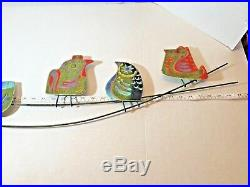 Curtis C Jere Signed 6 Metal Enameled Owls Mid Century Modern Retro-Colorful