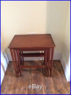 Danish mid century teak modernist nest coffee tables vintage teak retro