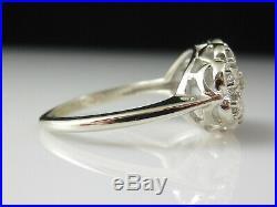 Diamond Princess Ring Vintage Estate Retro Period Mid Century 14K White Gold