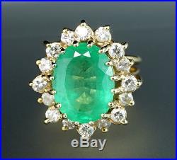 Emerald Diamond Halo 14K Yellow Gold Vintage Mid-Century Retro Cocktail Ring