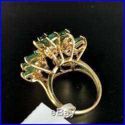 Emerald Diamond Spray 14K Yellow Gold Vintage Mid-Century Retro Cocktail Ring