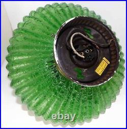 Emerald Green UFO Ceiling Light Mid Century Hollywood Regency 1950s MCM Vintage