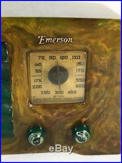 Emerson Little Miracle Marbled Green White and Yellow Catalin Tube Radio AX235