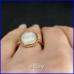 Estate 14k Yellow Gold Mother of Pearl Cameo Ring Vintage Retro Mid Century Gift