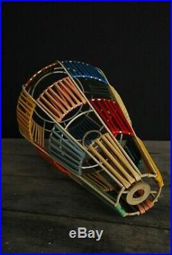 FAB VINTAGE 1950s Midcentury Pendant Lamp Shade, RETRO WOVEN PLASTIC LAMPSHADE