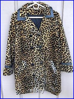 FAUX FUR Leopard Cheetah Coat Hat 60s 70s Retro Funky Mod S/M Vintage Midcentury