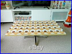 Fab Mid Century Patterned Top Coffee Side Table Vintage Retro 1960s Chrome Legs